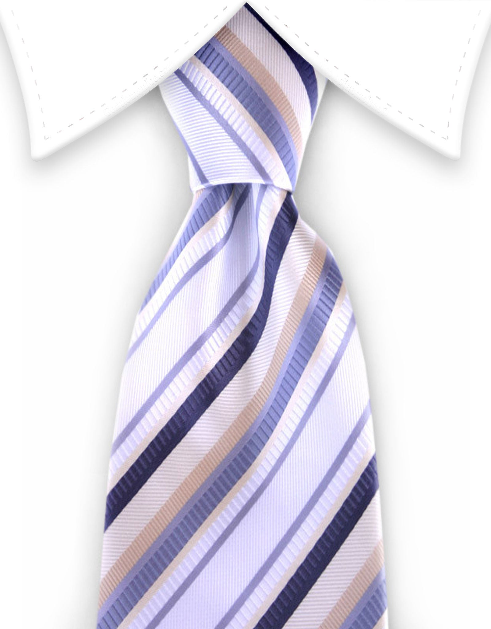 White, Silver, Charcoal & Gold Striped Tie