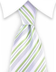 White & Green Striped Tie