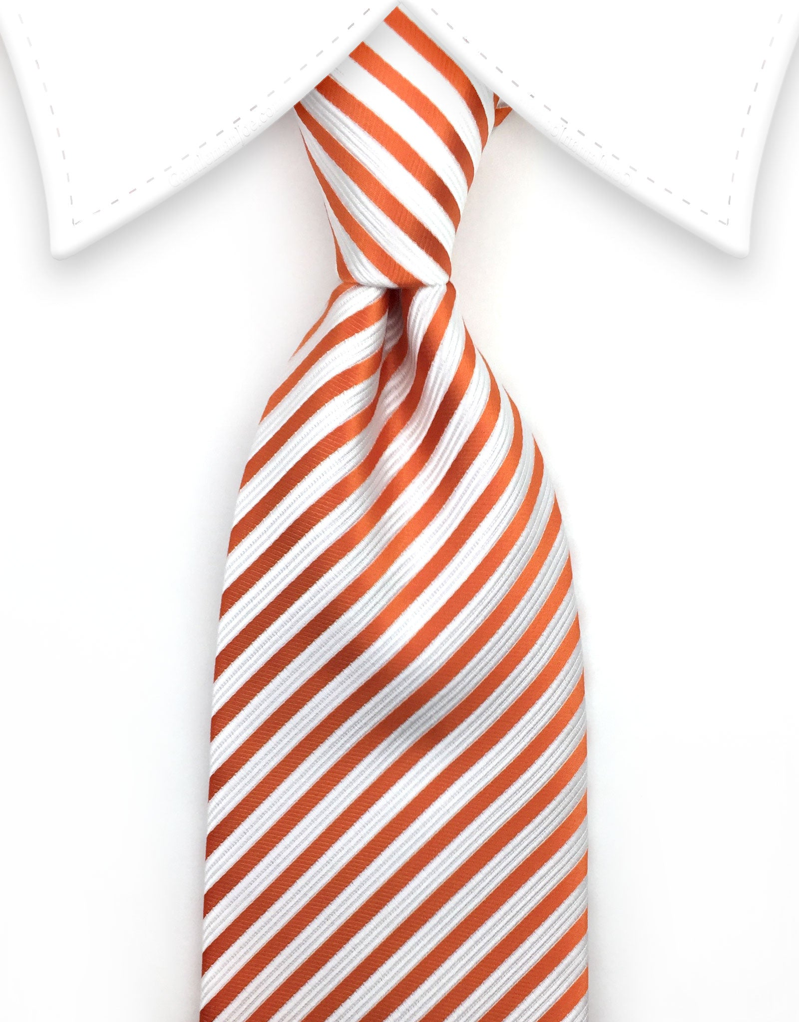 White Orange Striped Tie