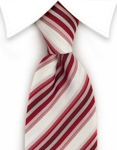 red & white striped tie