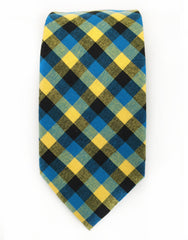 Yellow, Blue & Black Plaid Cotton Necktie