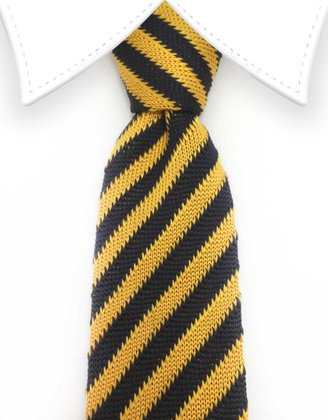 Navy Blue and Orange Striped Knitted Tie