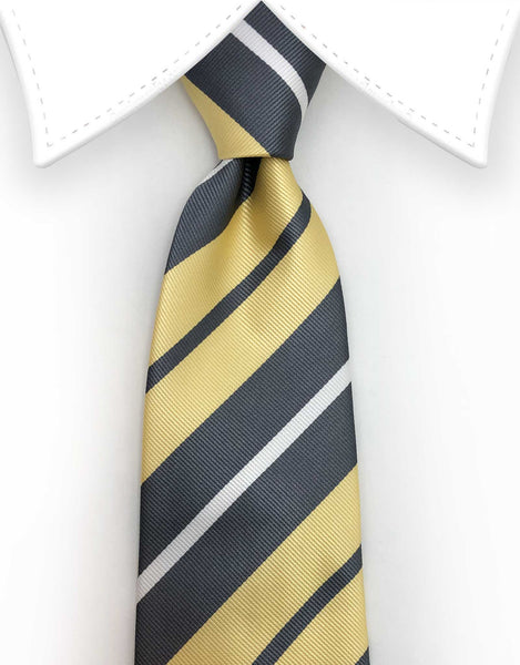 Yellow grey striped tie