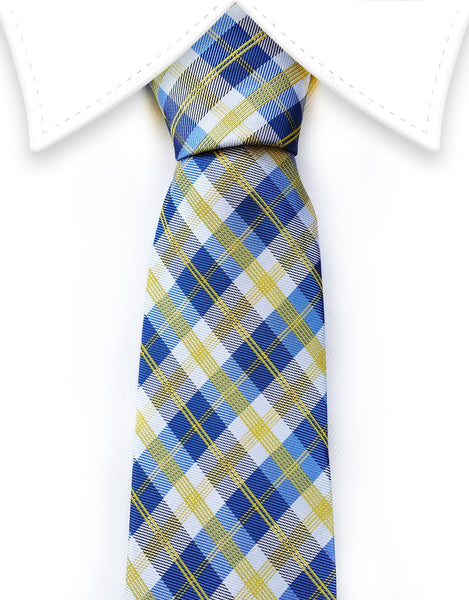 yellow blue plaid tie