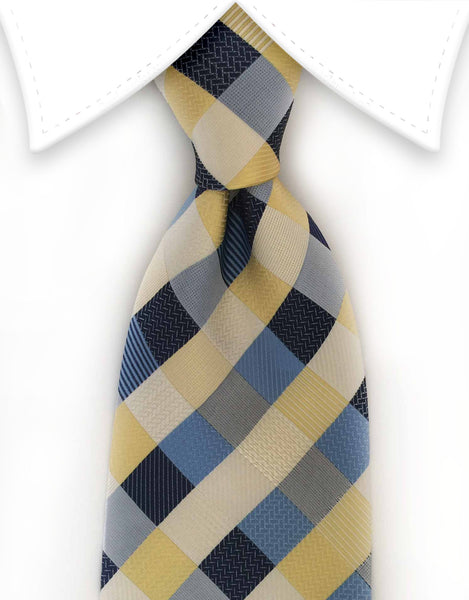 Yellow, blue & white checkered tie