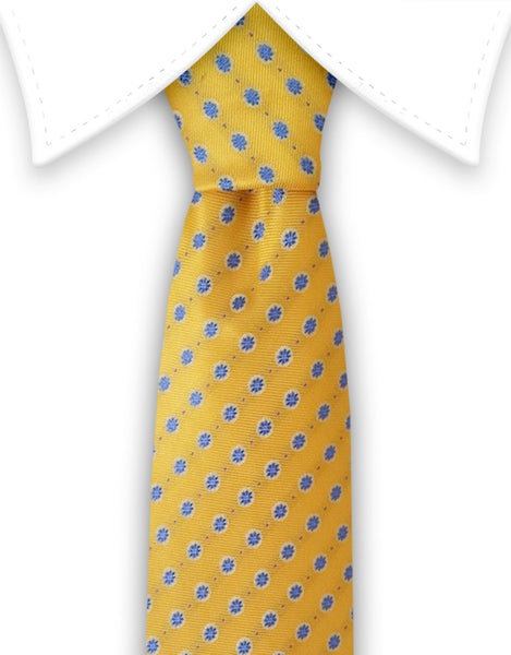 yellow blue silk tie