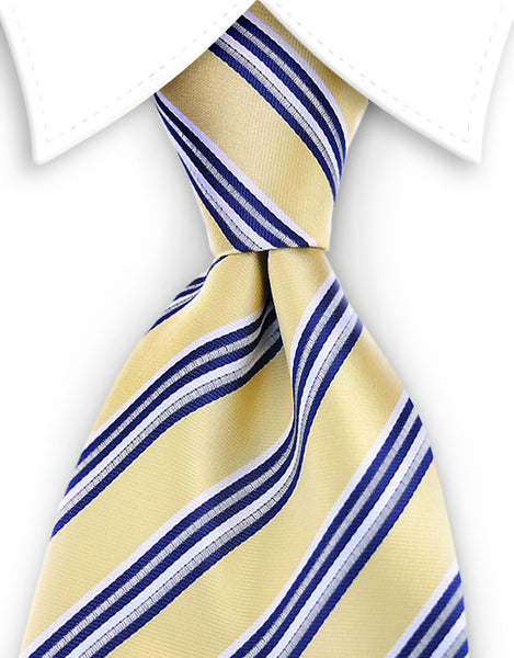 yellow and blue striped extra long tie