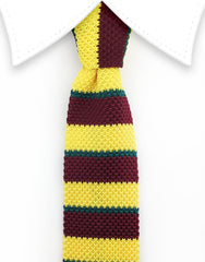 yellow, burgundy and green knit skinny tie
