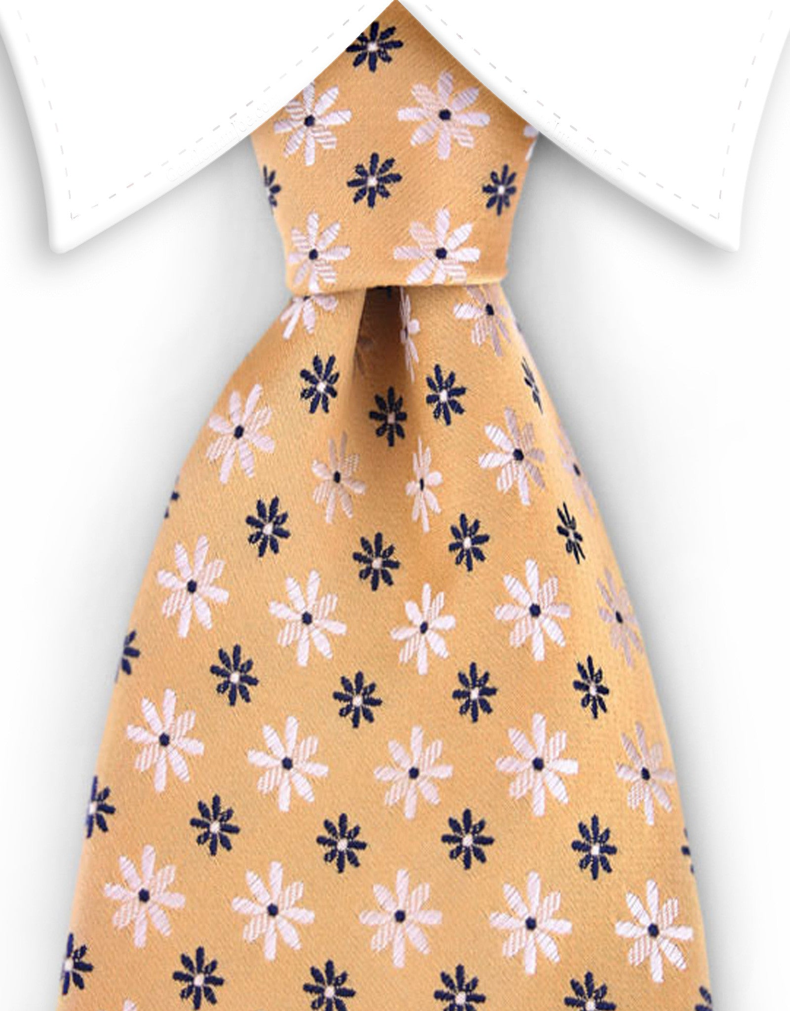 Yellow tie with daisy flowers