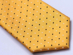 Golden Yellow Tie with Black & White Dots