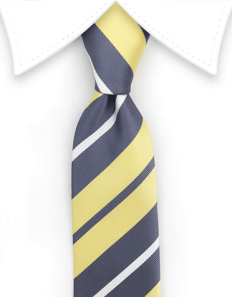 yellow silver white skinny tie