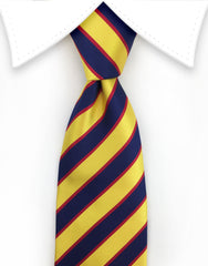 yellow and navy striped tie
