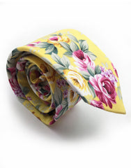 yellow and pink flower tie