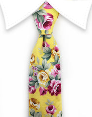 yellow floral tie with pink flowers