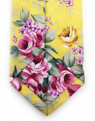 yellow pink flower tie