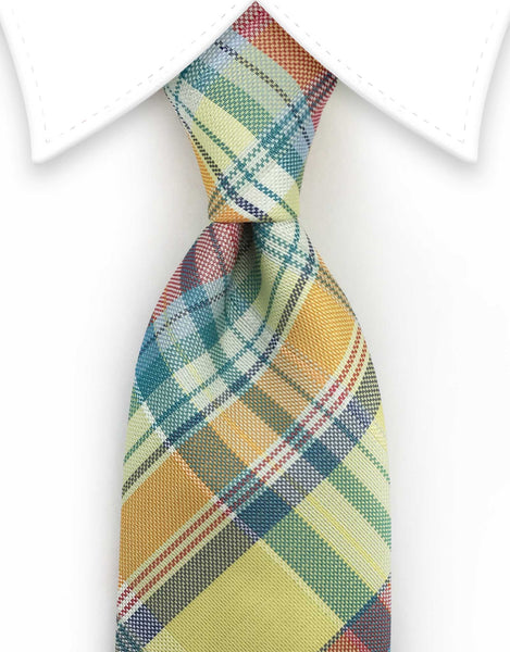 Yellow, Orange & Multi-Colored Plaid Long Tie