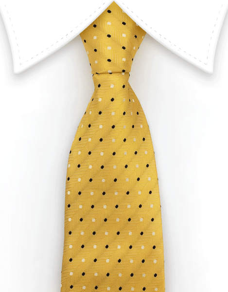 Yellow necktie with black and white dots