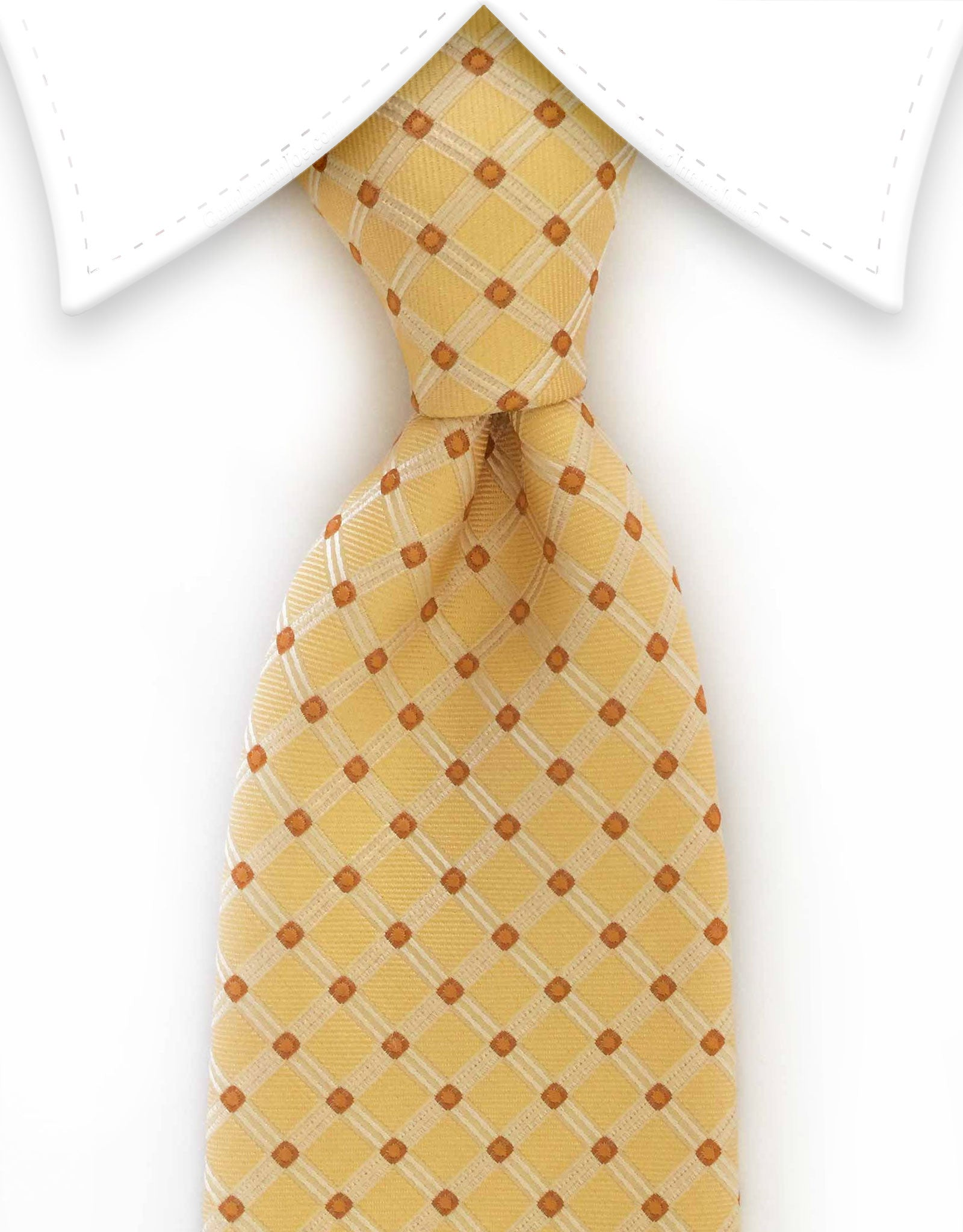 Yellow tie with small orange dots