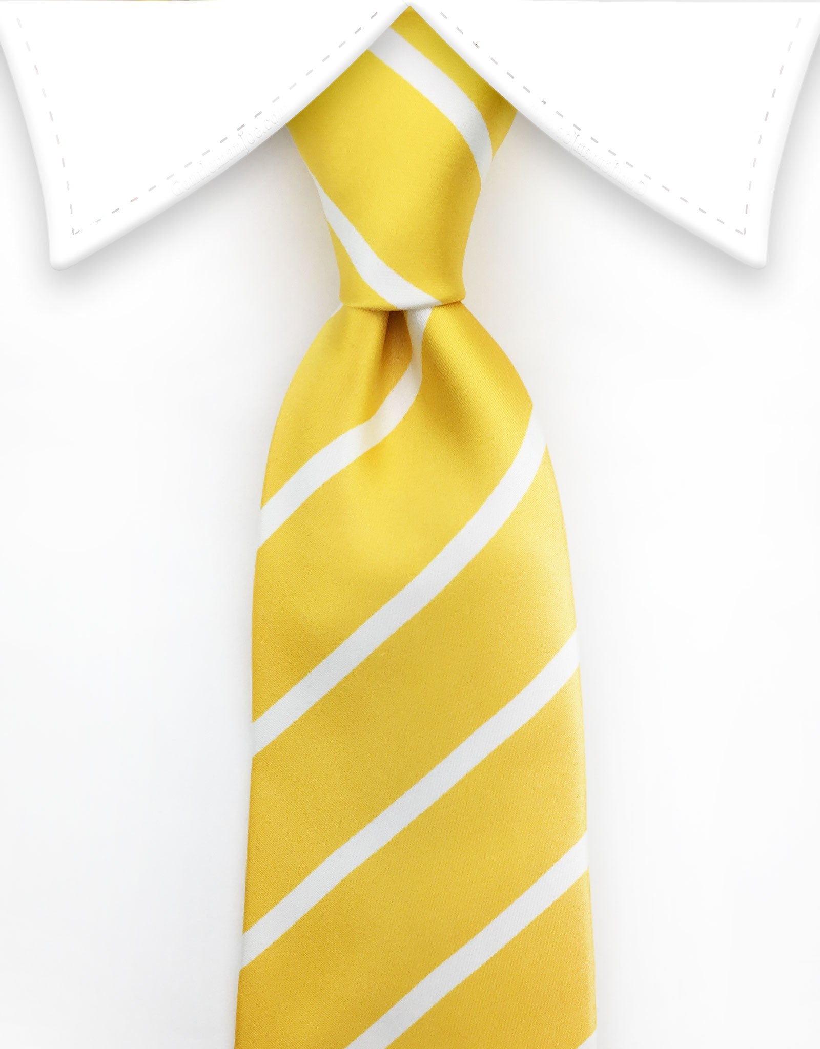 Yellow Tie with white stripes