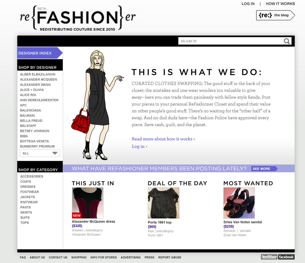 Original swap version 1.0 Refashioner landing page, 2010