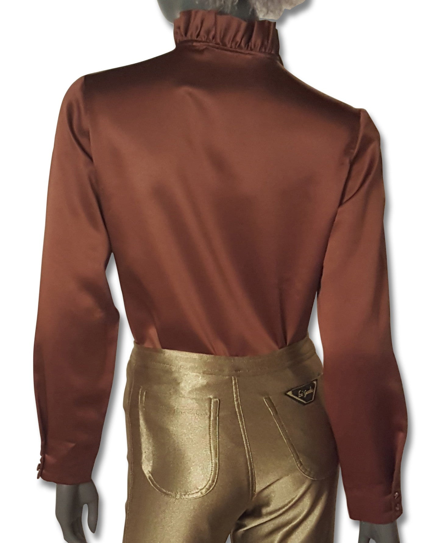 ebb1128b14d390 ... 1 · Milk Chocolate Satin 70s Blouse - refashioner - 2 ...