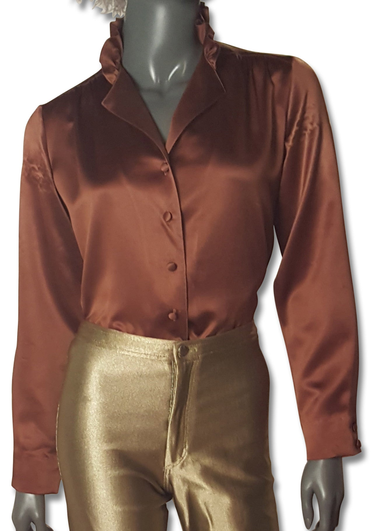 962116cad24508 Milk Chocolate Satin 70s Blouse - refashioner - 1 ...