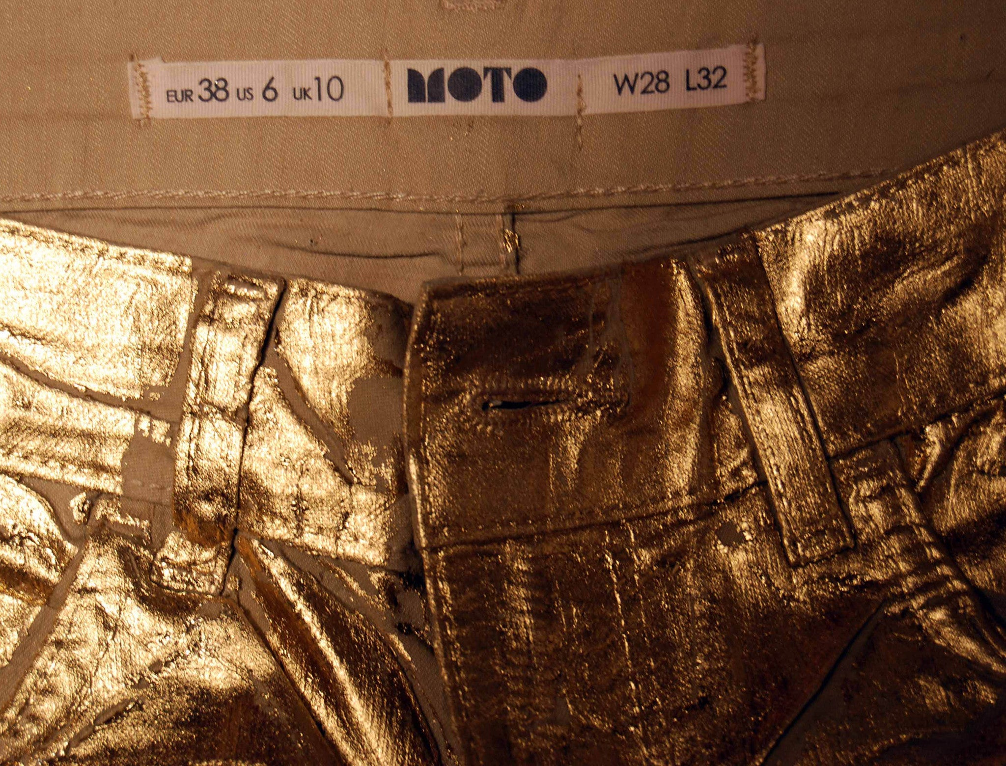 1e81fe1fab8efe Sold Out Moto Gold Foil Jeans - refashioner - 4 ...