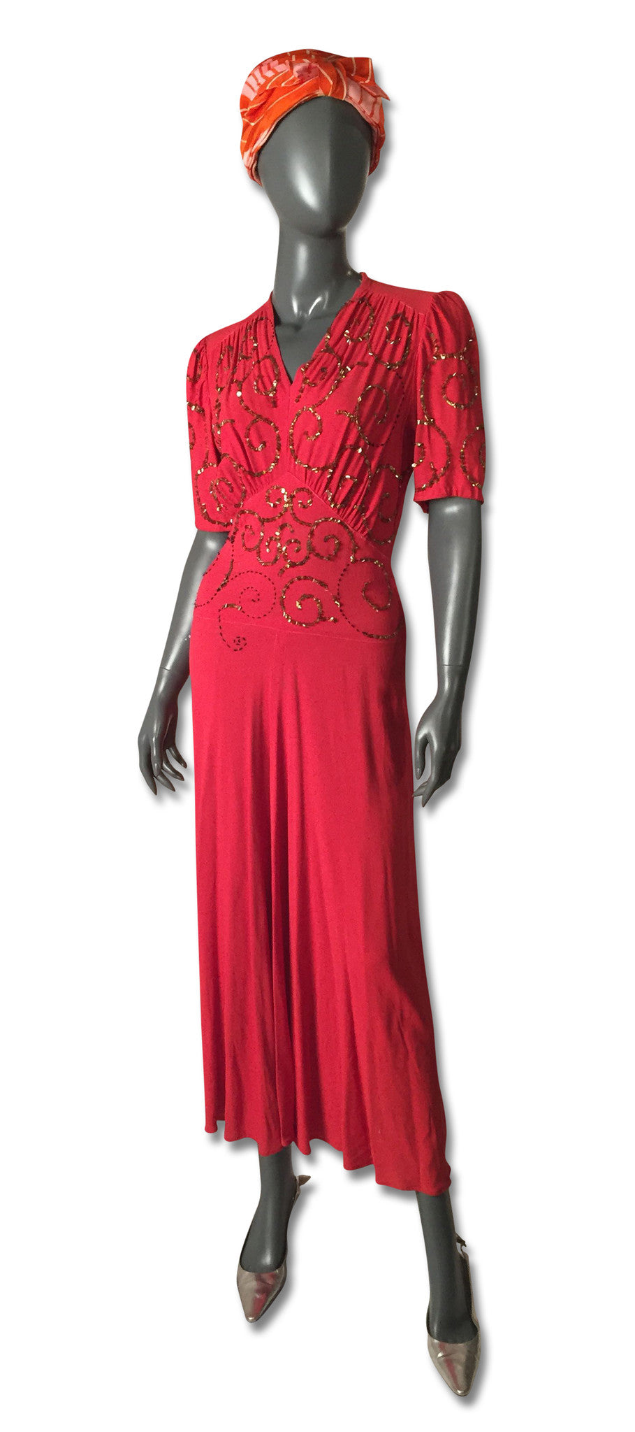 Red Crepe Sequined 1930s Gown - refashioner