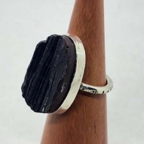 Black Tourmaline Druzy Ring