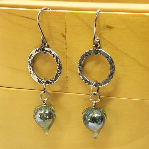 blown glass and loop earrings
