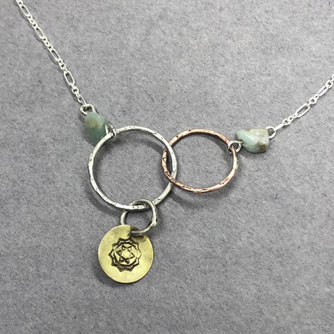 handmade sterling silver brass copper and amazonite necklace