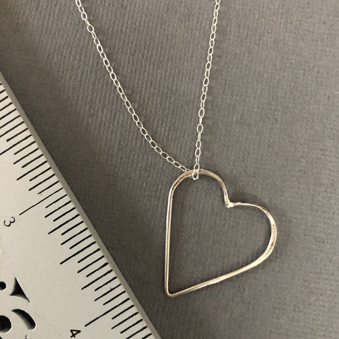 handmade sterling silver floating heart necklace