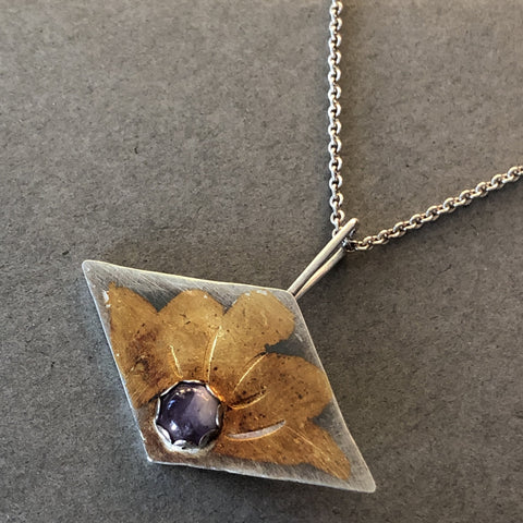 handmade keumboo and fine silver amethyst stone necklace
