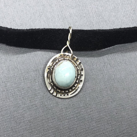 handmade sterling silver larimar choker necklace