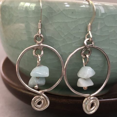 handmade sterling silver aquamarine bead earrings