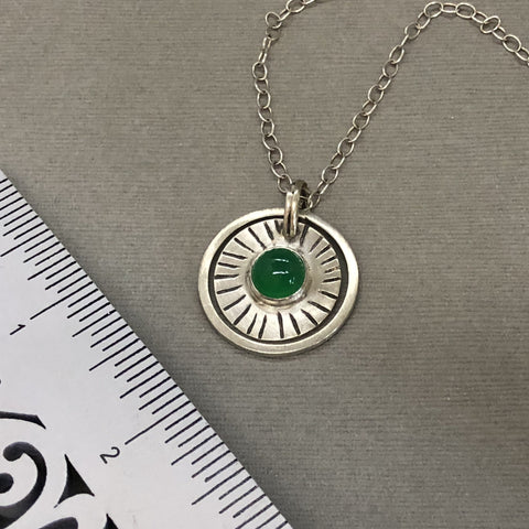 handmade sterling silver green onyx pendant
