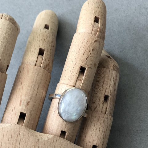 handmade sterling silver moonstone ring