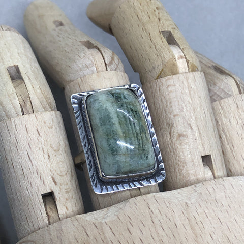 handmade sterling silver green beryl ring