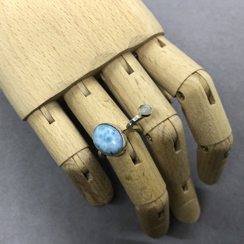 larimar and moonstone sterling silver ring