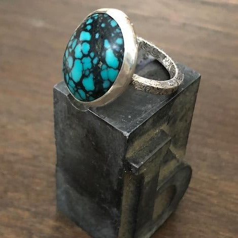 Spider-vein Turquoise Ring