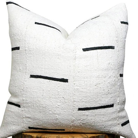 White mudcloth pillow | ObsessedHOME