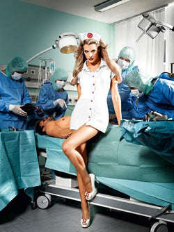 Nurse Vinyl Dress & Headwear Set  - Club X