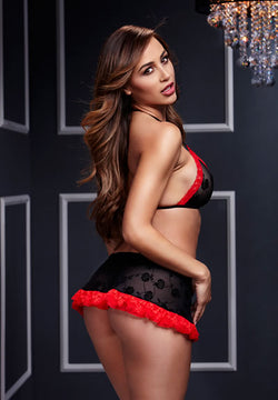 Lace Bra and Garter Red Black  - Club X