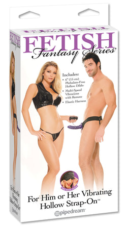 Fetish Fantasy - Vibrating Hollow Strap On Purple - Club X