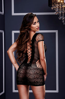 Corset Front Lace Mini Dress  - Club X