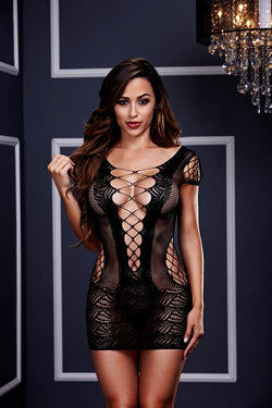 Corset Front Lace Mini Dress One Size - Club X