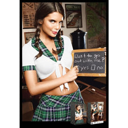 White with Green Plaid Detailed Top & Plaid Skirt Set  - Club X