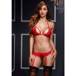 Lacy Bra Garter with Open Crotch Panty Red - Club X