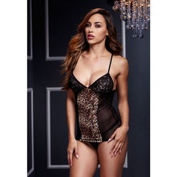 Leopard & Lace Chemise With Garters One Size / Leopard - Club X