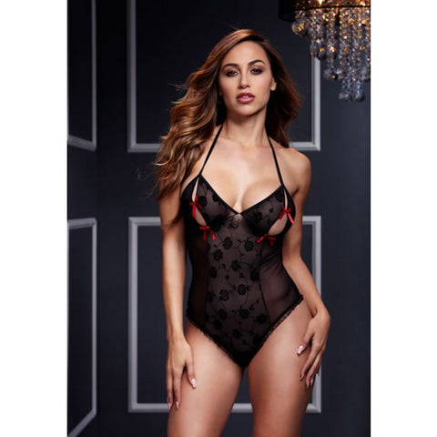 Lace Bodysuit with Bra Slits Red Bow